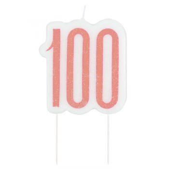 Bougie chiffre 100 glitz gold rose
