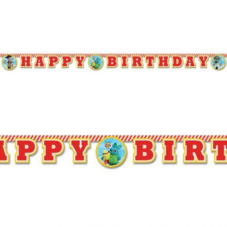 Banderole en carton Happy Birthday Toy Story 4 pour la décoration de table d'anniversaire de votre enfant.