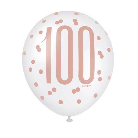 Assortiment 6 Ballons en latex de couleur blanc et gold rose, sérigraphié 100 pour une superbe décoration de fête d'anniversaire...