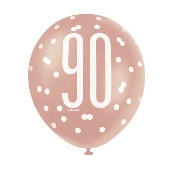 6 Ballons latex 90 glitz gold rose