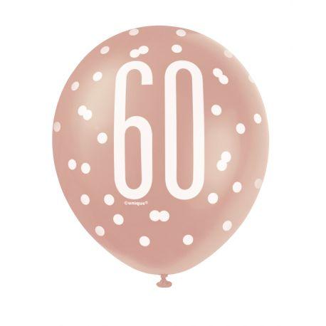 Assortiment 6 Ballonsde couleur blanc et gold rose en latex sérigraphié 60 pour une superbe décoration de fête d'anniversaire...