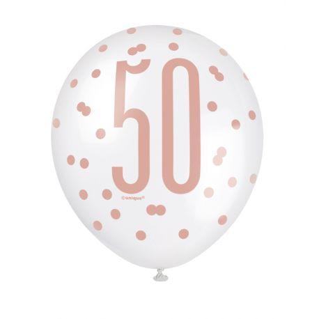 Assortiment 6 Ballonsblanc et gold rose en latex sérigraphié 50 pour une superbe décoration de fête d'anniversaire !Peut être...