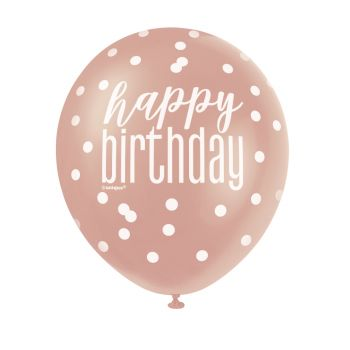 6 Ballons latex Happy birthday glitz gold rose