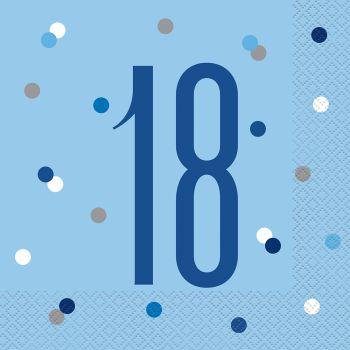 16 Serviettes 18 glitz bleu
