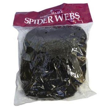 Toile d'araignée noire + 5 araignées