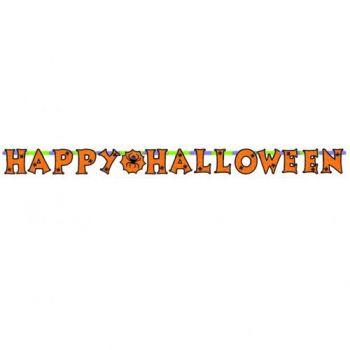 Banderole Happy Halloween araignée