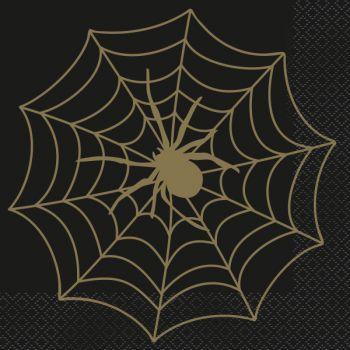 16 Serviettes gold araignée