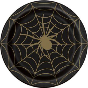 8 Assiettes gold araignée