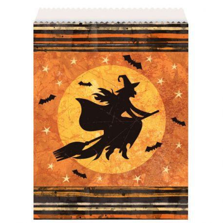 8 sacs en papier décor nuit Halloween idéal pour le repas de la soirée d'HalloweenDimensions : 22 x 16cm