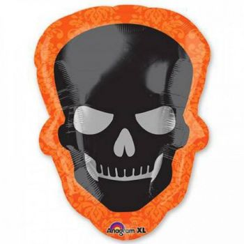 Ballon géant halloween crâne noir et orange