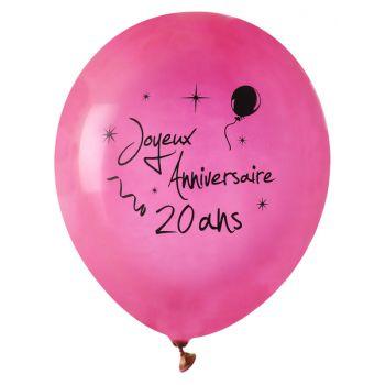 8 Ballons Joyeux anniversaire 20ans fuchsia