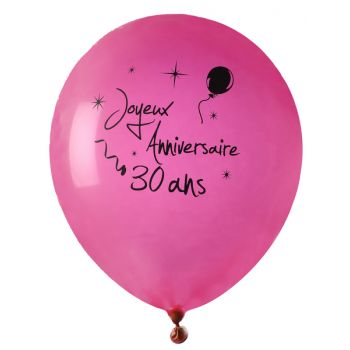 8 Ballons Joyeux anniversaire 30ans fuchsia