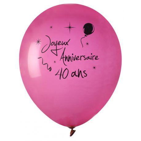 8 Ballons en latex fuchsia impressionJoyeux anniversaire 40ans noirØ 23 cmParfait pour la deco de votre fête ou anniversaire.