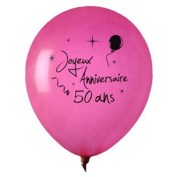 8 Ballons Joyeux anniversaire 50ans fuchsia