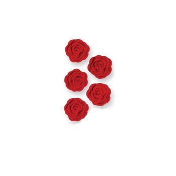 12 Mini roses en sucre rouge