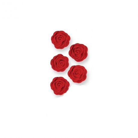 Boîte de 12 roses en sucre de couleur rouge pour décorer vos dessertsDimensions : Ø 1.6 cm