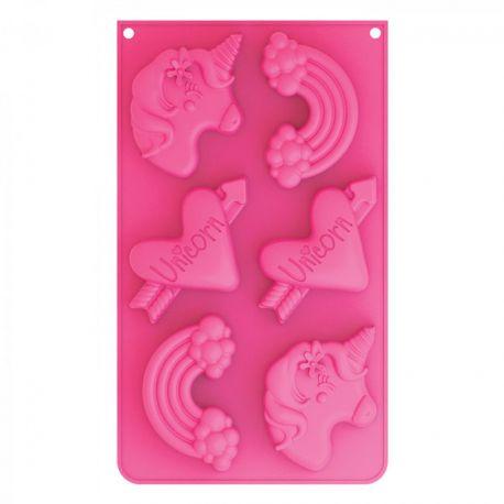 Grâce à ce moule à gâteau en silicone, réalisez 6 gâteaux en forme de tête de licorne, arc en ciel et cœur.ScrapCooking® a imaginé...