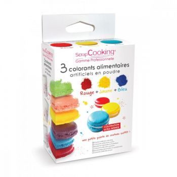 Kit 3 colorants alimentaire en poudre jaune rouge bleu Scrapcooking