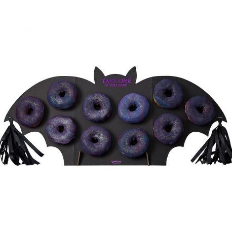 Superbe présentoir à donuts en carton en forme de chauve souris pour un buffet de la fête Halloween époustouflantContient 1...