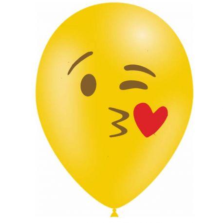 10 Ballons en latex biodégradable Emoticones bisous pour une belle décoration de fête d'anniversaireContenance en Gaz : 0.016...