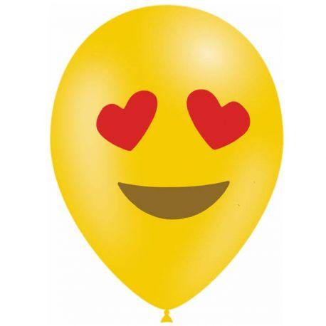 10 Ballons en latex biodégradable Emoticones love pour une belle décoration de fête d'anniversaireContenance en Gaz : 0.016...