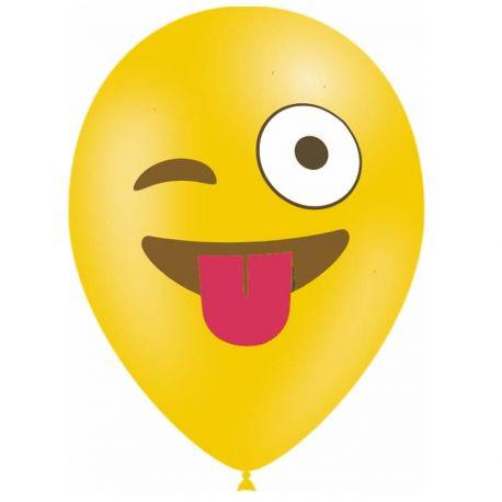 10 Ballons en latex biodégradable Emoticones clin d'oeil pour une belle décoration de fête d'anniversaireContenance en Gaz : 0.016...