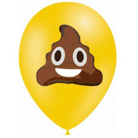 10 Ballons en latex biodégradable Emoticones caca pour une belle décoration de fête d'anniversaireContenance en Gaz : 0.016...
