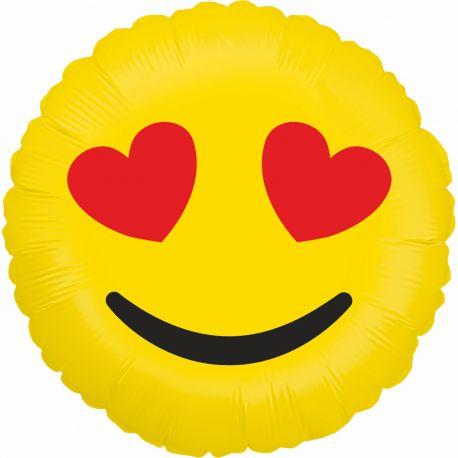 Ballon rond helium en aluminium Emoticones love pour une belle décoration d'anniversaireA gonfler avec ou sans héliumDimensions...
