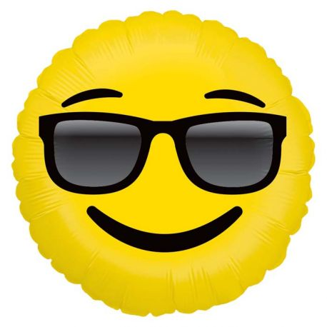 Ballon rond helium en aluminium Emoticones lunette de soleil pour une belle décoration d'anniversaireA gonfler avec ou sans...