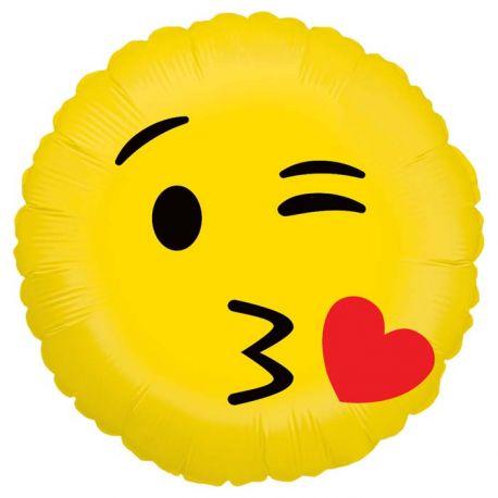 Ballon rond helium en aluminium Emoticones bisou pour une belle décoration d'anniversaireA gonfler avec ou sans héliumDimensions...