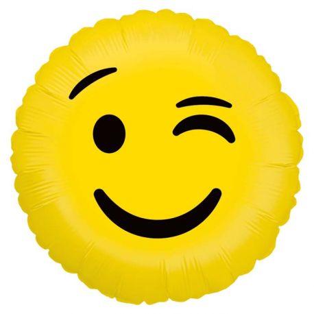 Ballon rond helium en aluminium Emoticones clin d'oeil pour une belle décoration d'anniversaireA gonfler avec ou sans...