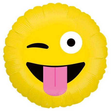 Ballon rond helium en aluminium Emoticones crazy pour une belle décoration d'anniversaireA gonfler avec ou sans héliumDimensions...
