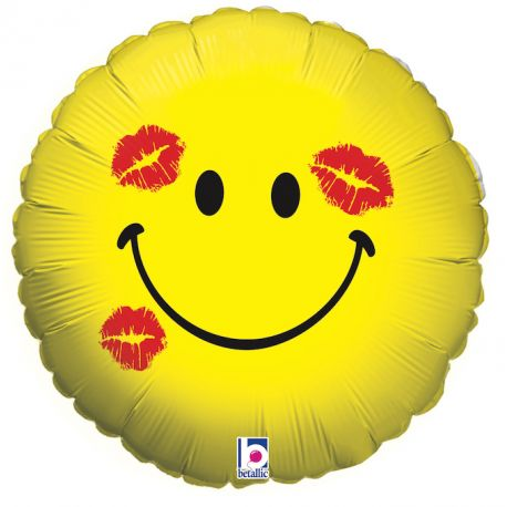 Ballon rond helium en aluminium Emoticones kiss pour une belle décoration d'anniversaireA gonfler avec ou sans héliumDimensions...