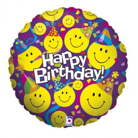 Ballon rond helium en aluminium Emoticones party pour une belle décoration d'anniversaireA gonfler avec ou sans héliumDimensions...