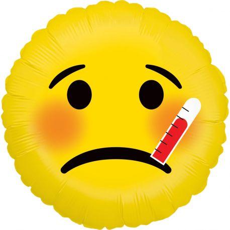 Ballon rond helium en aluminium Emoticones malade pour une belle décoration d'anniversaireA gonfler avec ou sans...