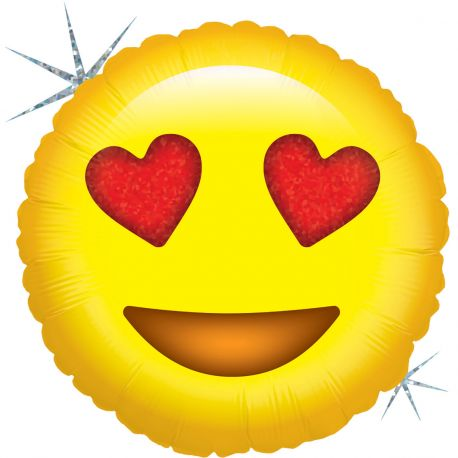 Ballon rond helium en aluminium Emoticones love holographique pour une belle décoration d'anniversaireA gonfler avec ou sans...