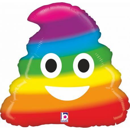 Ballon rond helium en aluminium Emoticones caca rainbow pour une belle décoration d'anniversaireA gonfler avec ou sans...
