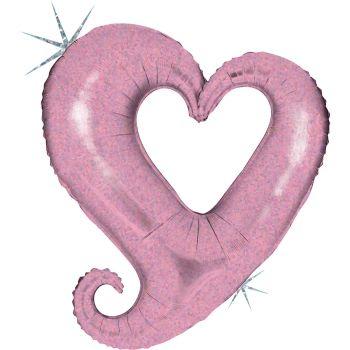 Ballon helium géant chaîne de coeur rose holographique