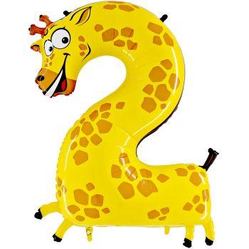Ballon helium chiffre 2 girafe