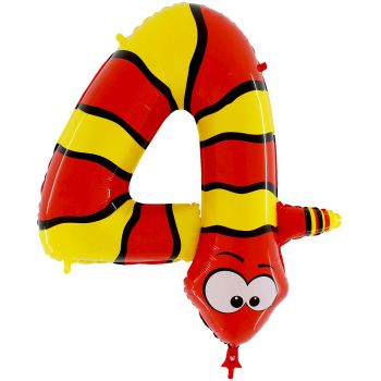 Ballon helium chiffre 4 serpent