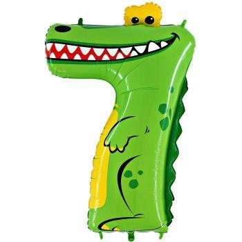 Ballon helium chiffre 7 crocodile