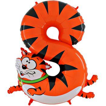 Ballon helium chiffre 8 chat