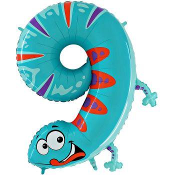 Ballon helium chiffre 9 salamandre