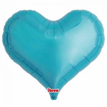 Ballon helium coeur turquoise