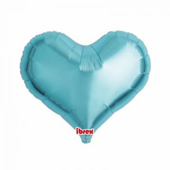 Ballon helium coeur turquoise 35cm