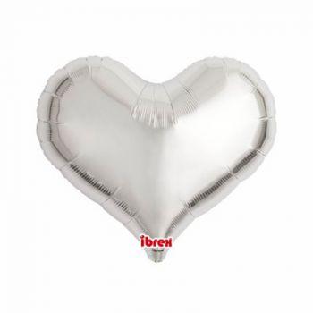 Ballon helium coeur argent 35cm