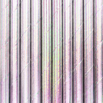 10 Pailles papier métallisé irisé rose