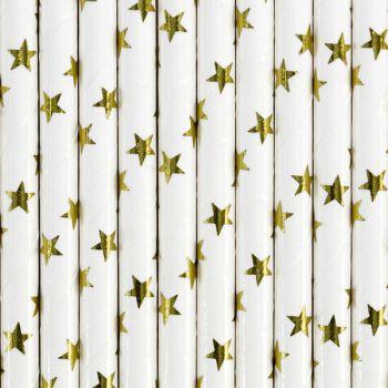 10 Pailles papier étoiles or
