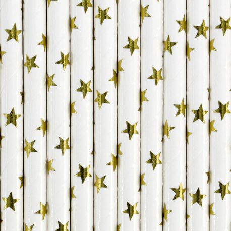 10 Pailles en papier blanche avec étoiles métallisé or pour une belle décoration de table d'anniversaire, de candy bar, de...