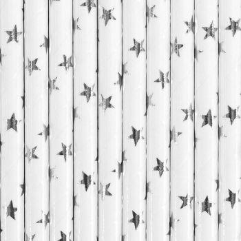 10 Pailles papier étoiles argent